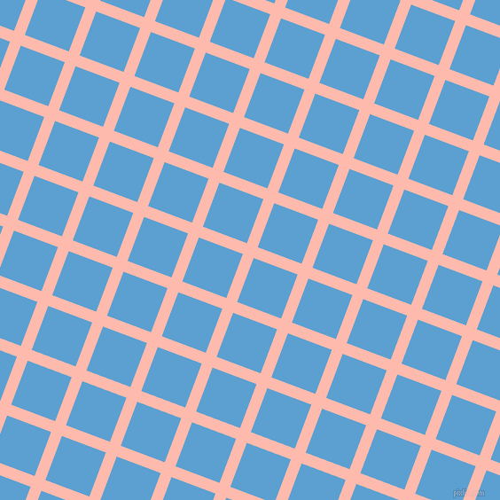 69/159 degree angle diagonal checkered chequered lines, 13 pixel line width, 53 pixel square size, Melon and Picton Blue plaid checkered seamless tileable