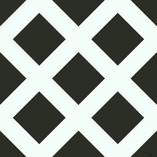 45/135 degree angle diagonal checkered chequered lines, 61 pixel lines width, 126 pixel square size, Mint Cream and Rangoon Green plaid checkered seamless tileable