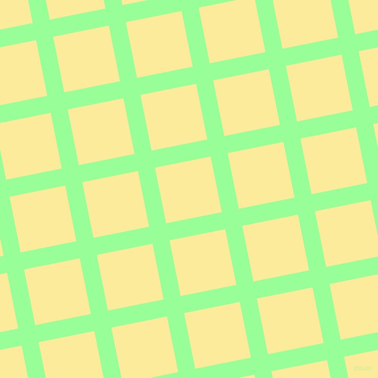 11/101 degree angle diagonal checkered chequered lines, 34 pixel line width, 111 pixel square size, Mint Green and Drover plaid checkered seamless tileable