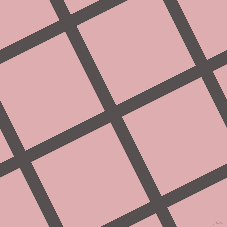 27/117 degree angle diagonal checkered chequered lines, 44 pixel lines width, 308 pixel square size, Mortar and Pale Chestnut plaid checkered seamless tileable