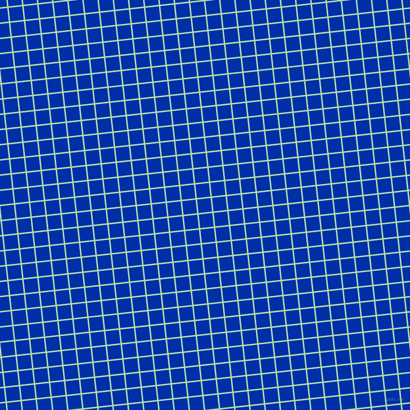 6/96 degree angle diagonal checkered chequered lines, 3 pixel line width, 28 pixel square size, Moss Green and International Klein Blue plaid checkered seamless tileable