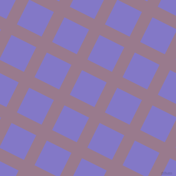 63/153 degree angle diagonal checkered chequered lines, 39 pixel line width, 91 pixel square size, Mountbatten Pink and Moody Blue plaid checkered seamless tileable