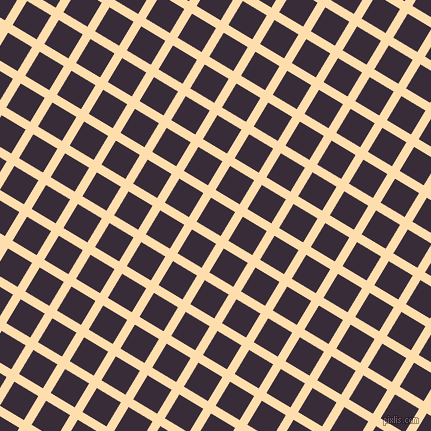 59/149 degree angle diagonal checkered chequered lines, 9 pixel line width, 28 pixel square size, Navajo White and Valentino plaid checkered seamless tileable