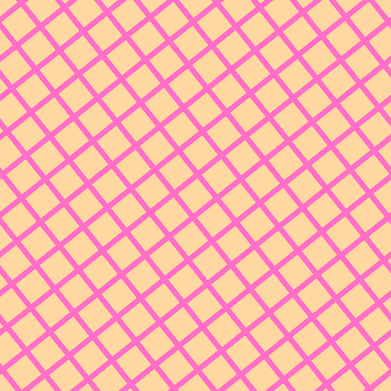 39/129 degree angle diagonal checkered chequered lines, 11 pixel line width, 51 pixel square size, Neon Pink and Frangipani plaid checkered seamless tileable