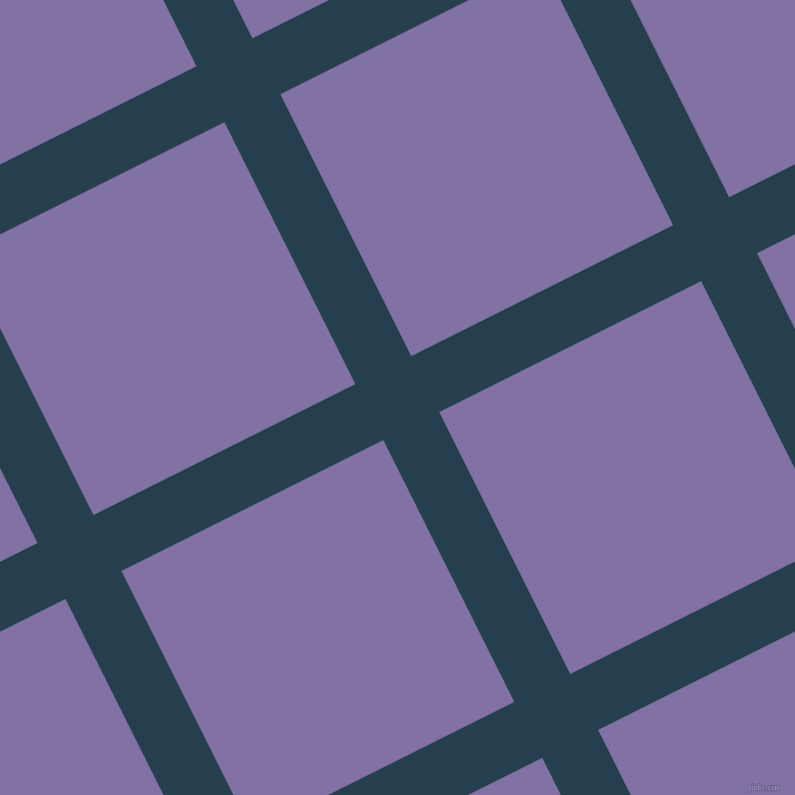 27/117 degree angle diagonal checkered chequered lines, 69 pixel line width, 323 pixel square size, Nile Blue and Deluge plaid checkered seamless tileable