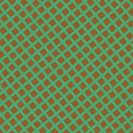 40/130 degree angle diagonal checkered chequered lines, 9 pixel line width, 20 pixel square size, Ocean Green and Rusty Nail plaid checkered seamless tileable