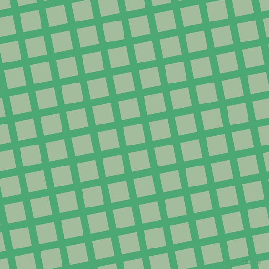 11/101 degree angle diagonal checkered chequered lines, 15 pixel line width, 39 pixel square size, Ocean Green and Spring Rain plaid checkered seamless tileable