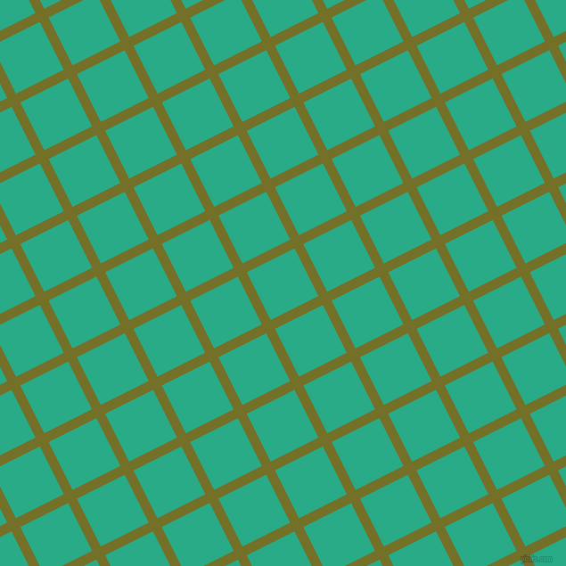 27/117 degree angle diagonal checkered chequered lines, 11 pixel lines width, 60 pixel square size, Olivetone and Jungle Green plaid checkered seamless tileable
