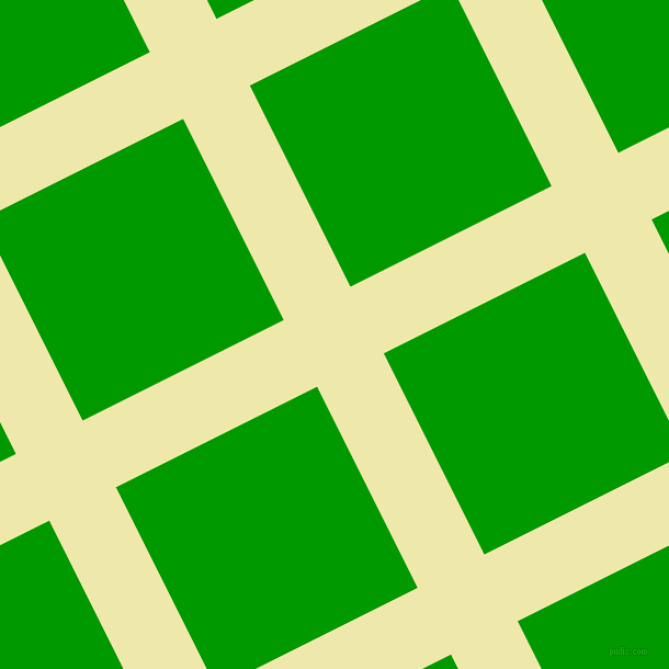 27/117 degree angle diagonal checkered chequered lines, 68 pixel line width, 205 pixel square size, Pale Goldenrod and Islamic Green plaid checkered seamless tileable