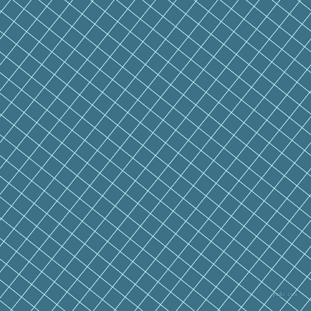 51/141 degree angle diagonal checkered chequered lines, 1 pixel line width, 22 pixel square size, Pale Turquoise and Calypso plaid checkered seamless tileable