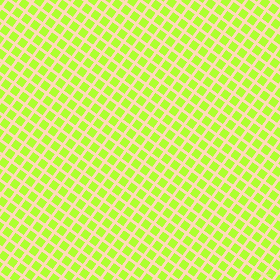 54/144 degree angle diagonal checkered chequered lines, 6 pixel line width, 16 pixel square size, Peach Puff and Green Yellow plaid checkered seamless tileable