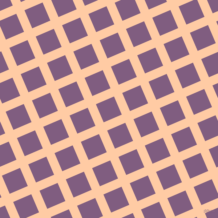 23/113 degree angle diagonal checkered chequered lines, 29 pixel lines width, 64 pixel square size, Peach and Trendy Pink plaid checkered seamless tileable