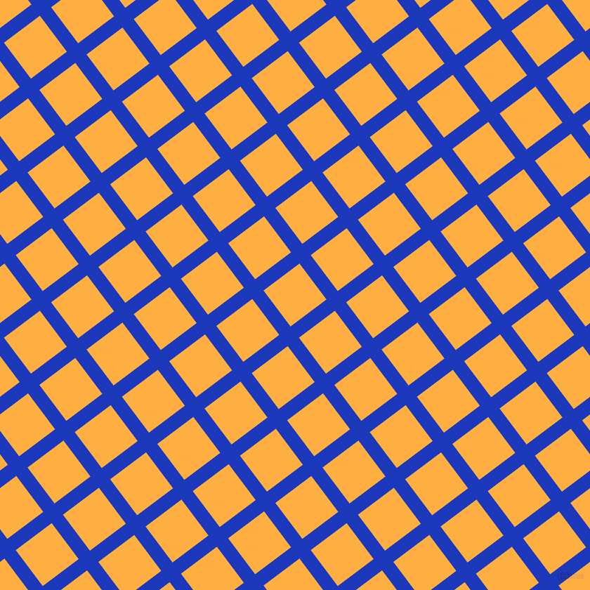 37/127 degree angle diagonal checkered chequered lines, 20 pixel lines width, 64 pixel square size, Persian Blue and Yellow Orange plaid checkered seamless tileable