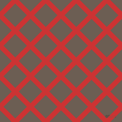 45/135 degree angle diagonal checkered chequered lines, 17 pixel lines width, 56 pixel square size, Persian Red and Kabul plaid checkered seamless tileable