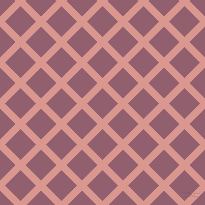 45/135 degree angle diagonal checkered chequered lines, 14 pixel lines width, 43 pixel square size, Petite Orchid and Mauve Taupe plaid checkered seamless tileable