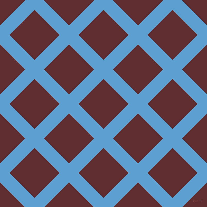 45/135 degree angle diagonal checkered chequered lines, 52 pixel line width, 138 pixel square size, Picton Blue and Jazz plaid checkered seamless tileable