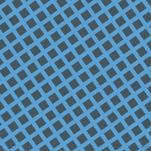 35/125 degree angle diagonal checkered chequered lines, 17 pixel line width, 34 pixel square size, Picton Blue and San Juan plaid checkered seamless tileable