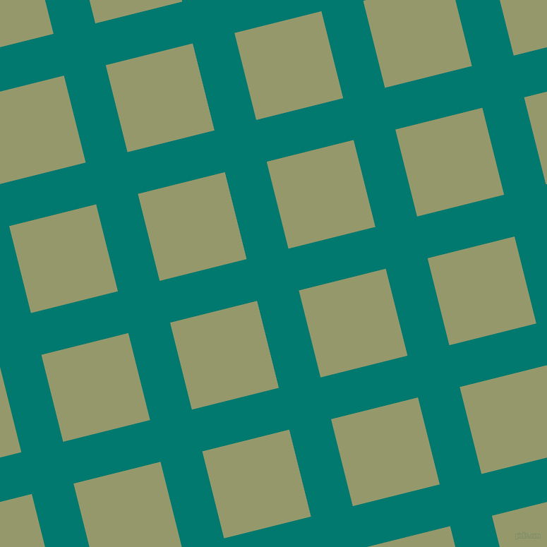 14/104 degree angle diagonal checkered chequered lines, 61 pixel line width, 127 pixel square size, Pine Green and Avocado plaid checkered seamless tileable