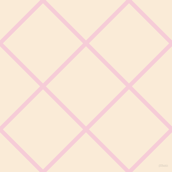 45/135 degree angle diagonal checkered chequered lines, 16 pixel lines width, 222 pixel square size, Pink Lace and Antique White plaid checkered seamless tileable