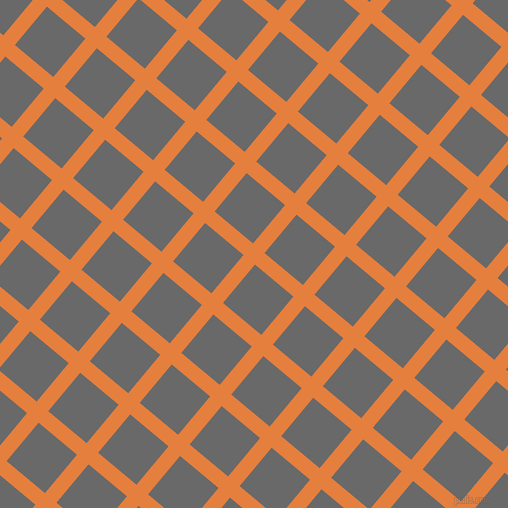 50/140 degree angle diagonal checkered chequered lines, 15 pixel line width, 50 pixel square size, Pizazz and Dim Gray plaid checkered seamless tileable