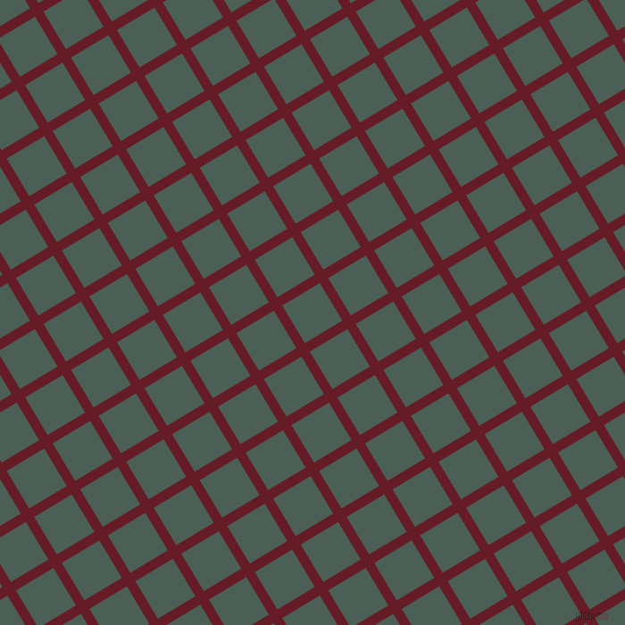 31/121 degree angle diagonal checkered chequered lines, 11 pixel lines width, 49 pixel square size, Pohutukawa and Viridian Green plaid checkered seamless tileable