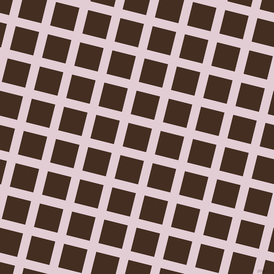76/166 degree angle diagonal checkered chequered lines, 31 pixel line width, 83 pixel square size, Prim and Morocco Brown plaid checkered seamless tileable
