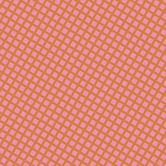 59/149 degree angle diagonal checkered chequered lines, 8 pixel lines width, 17 pixel square size, Raw Sienna and Mauvelous plaid checkered seamless tileable