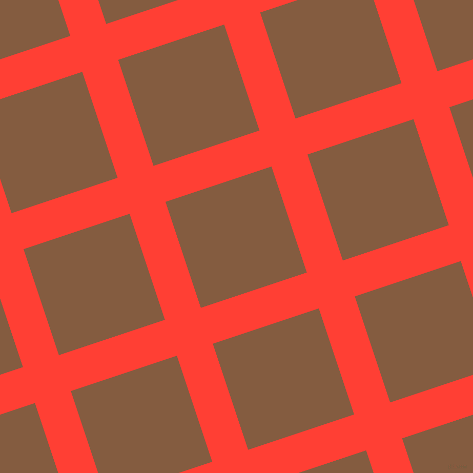 18/108 degree angle diagonal checkered chequered lines, 74 pixel line width, 218 pixel square size, Red Orange and Potters Clay plaid checkered seamless tileable