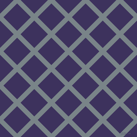 45/135 degree angle diagonal checkered chequered lines, 17 pixel lines width, 68 pixel square size, Regent Grey and Jacarta plaid checkered seamless tileable