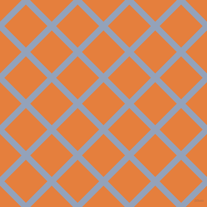 45/135 degree angle diagonal checkered chequered lines, 24 pixel lines width, 119 pixel square size, Rock Blue and Pizazz plaid checkered seamless tileable