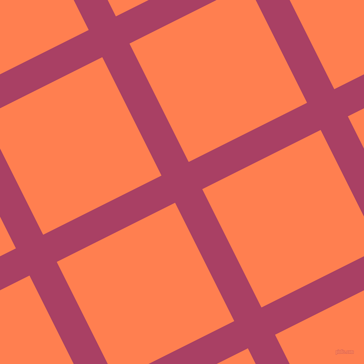 27/117 degree angle diagonal checkered chequered lines, 60 pixel line width, 261 pixel square size, Rouge and Coral plaid checkered seamless tileable