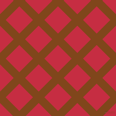 45/135 degree angle diagonal checkered chequered lines, 28 pixel line width, 67 pixel square size, Russet and Brick Red plaid checkered seamless tileable