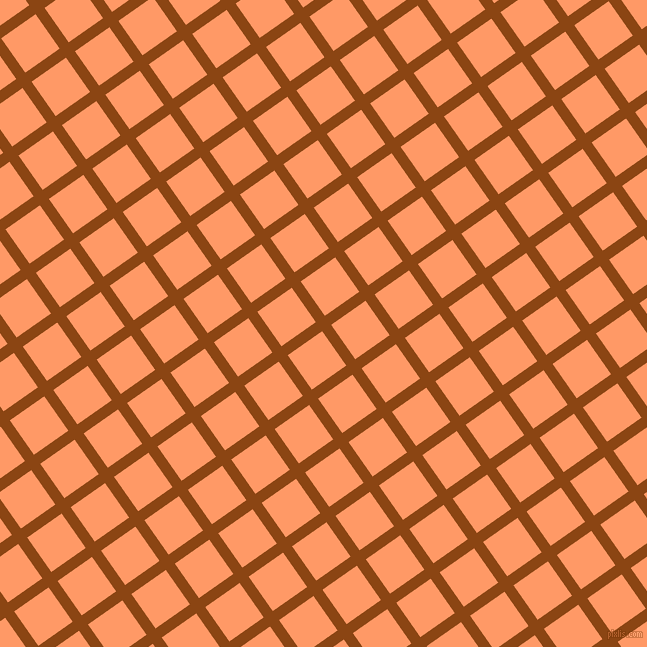 35/125 degree angle diagonal checkered chequered lines, 11 pixel line width, 42 pixel square size, Saddle Brown and Atomic Tangerine plaid checkered seamless tileable