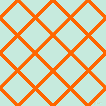 45/135 degree angle diagonal checkered chequered lines, 15 pixel lines width, 92 pixel square size, Safety Orange and Mint Tulip plaid checkered seamless tileable