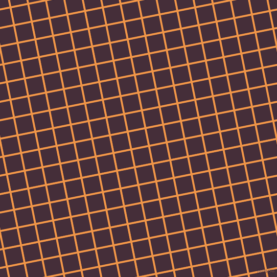 11/101 degree angle diagonal checkered chequered lines, 4 pixel line width, 33 pixel square size, Sea Buckthorn and Barossa plaid checkered seamless tileable