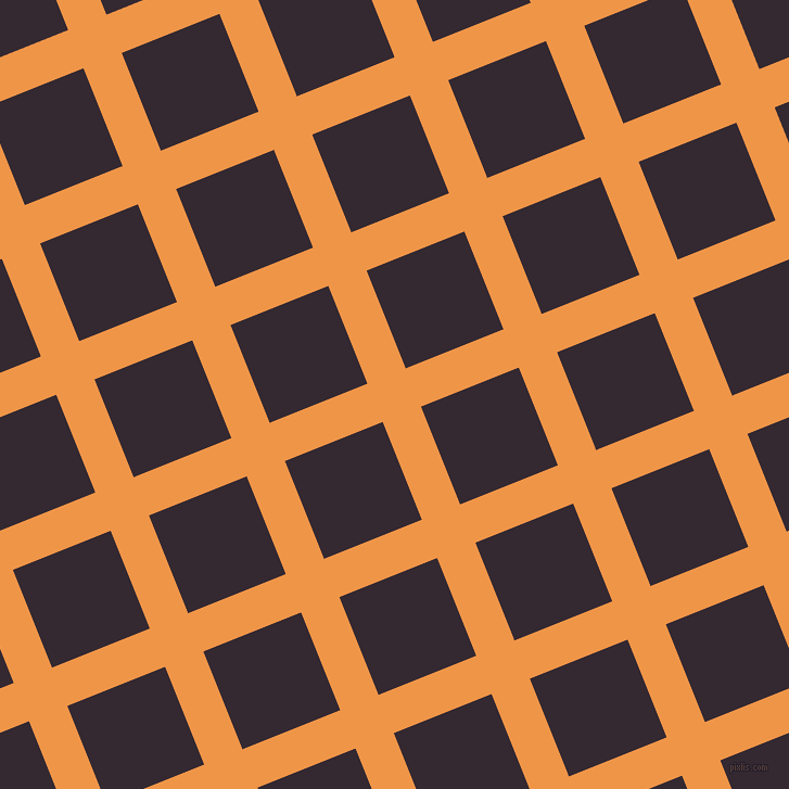 22/112 degree angle diagonal checkered chequered lines, 38 pixel line width, 97 pixel square size, Sea Buckthorn and Melanzane plaid checkered seamless tileable