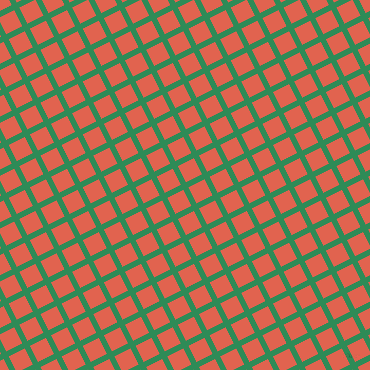 27/117 degree angle diagonal checkered chequered lines, 11 pixel lines width, 35 pixel square size, Sea Green and Flamingo plaid checkered seamless tileable