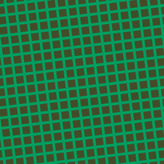 7/97 degree angle diagonal checkered chequered lines, 11 pixel line width, 30 pixel square size, Shamrock Green and Bronzetone plaid checkered seamless tileable