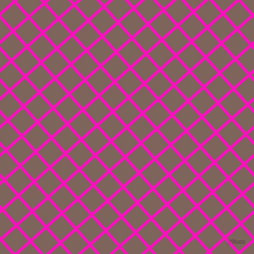 42/132 degree angle diagonal checkered chequered lines, 6 pixel line width, 37 pixel square size, Shocking Pink and Russett plaid checkered seamless tileable