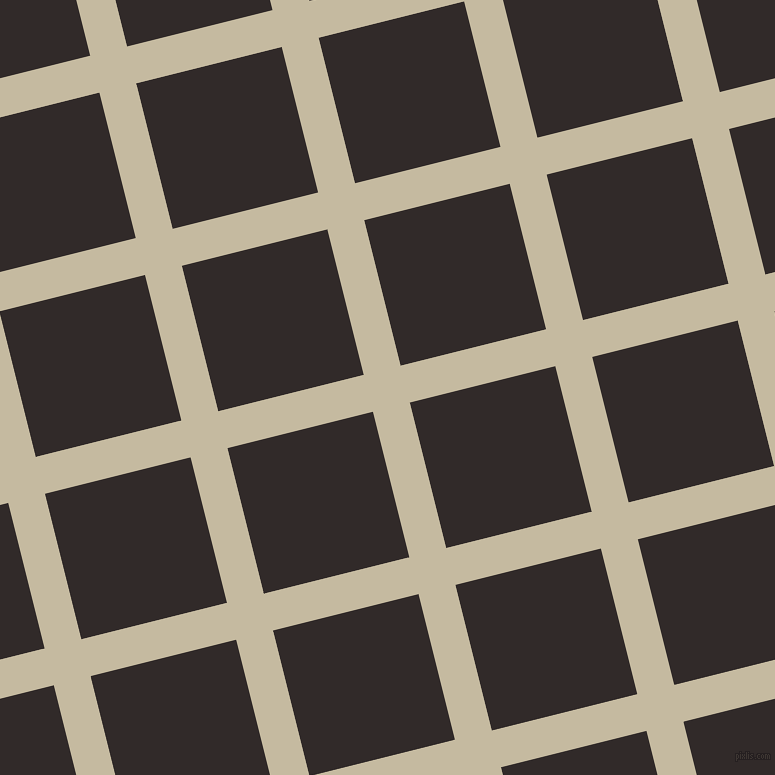 14/104 degree angle diagonal checkered chequered lines, 38 pixel line width, 150 pixel square size, Sisal and Livid Brown plaid checkered seamless tileable