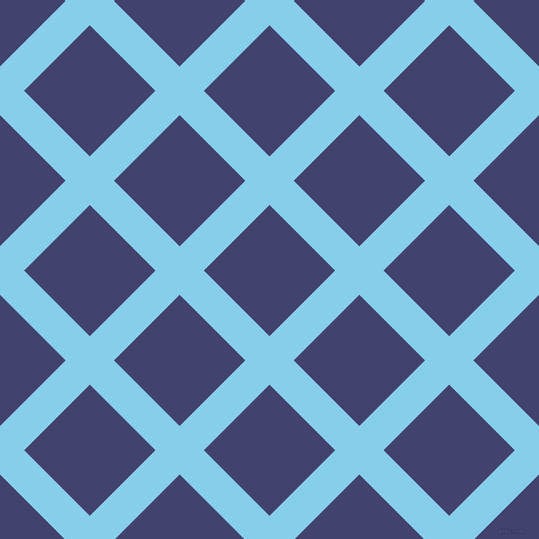 45/135 degree angle diagonal checkered chequered lines, 48 pixel line width, 130 pixel square size, Sky Blue and Corn Flower Blue plaid checkered seamless tileable