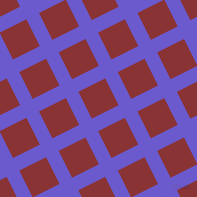 27/117 degree angle diagonal checkered chequered lines, 29 pixel lines width, 62 pixel square size, Slate Blue and Old Brick plaid checkered seamless tileable