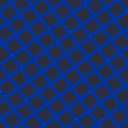 36/126 degree angle diagonal checkered chequered lines, 14 pixel lines width, 38 pixel square size, Smalt and Black Rock plaid checkered seamless tileable