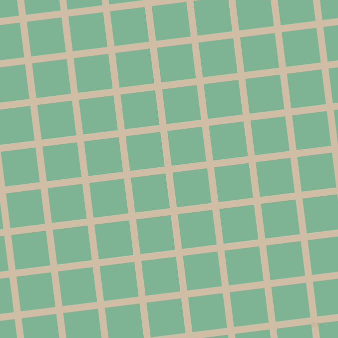 7/97 degree angle diagonal checkered chequered lines, 14 pixel lines width, 70 pixel square size, Soft Amber and Padua plaid checkered seamless tileable