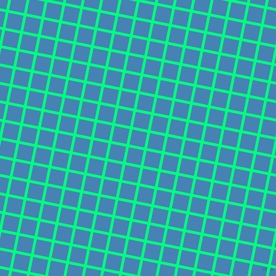 79/169 degree angle diagonal checkered chequered lines, 9 pixel lines width, 49 pixel square size, Spring Green and Steel Blue plaid checkered seamless tileable