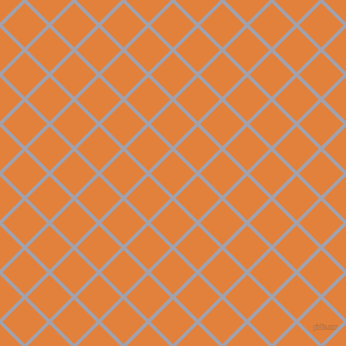45/135 degree angle diagonal checkered chequered lines, 5 pixel line width, 45 pixel square size, Spun Pearl and Tree Poppy plaid checkered seamless tileable