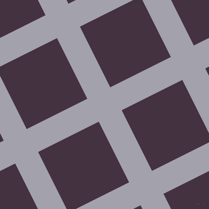 27/117 degree angle diagonal checkered chequered lines, 109 pixel line width, 288 pixel square size, Spun Pearl and Voodoo plaid checkered seamless tileable