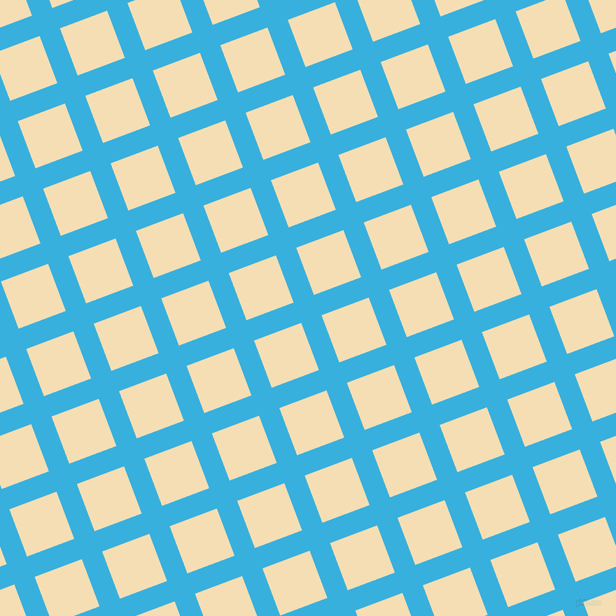 21/111 degree angle diagonal checkered chequered lines, 31 pixel line width, 72 pixel square size, Summer Sky and Wheat plaid checkered seamless tileable