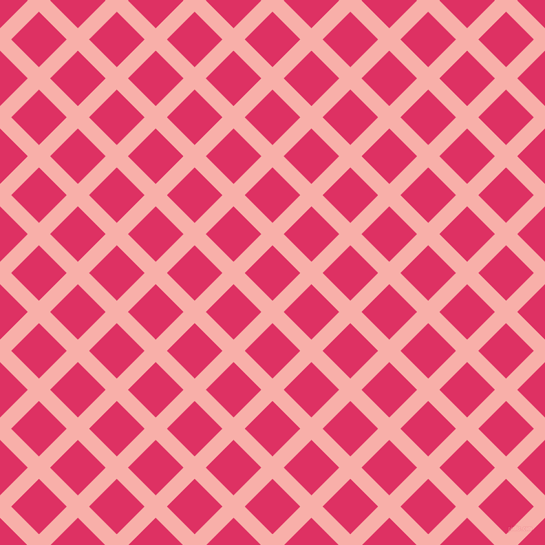 45/135 degree angle diagonal checkered chequered lines, 23 pixel lines width, 57 pixel square size, Sundown and Cerise plaid checkered seamless tileable