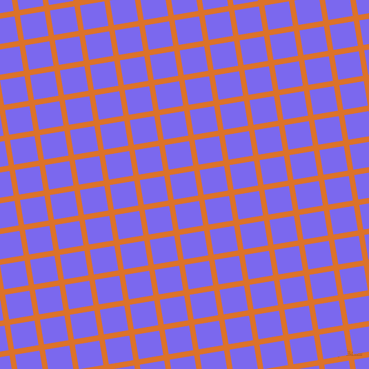 9/99 degree angle diagonal checkered chequered lines, 8 pixel line width, 36 pixel square size, Tahiti Gold and Medium Slate Blue plaid checkered seamless tileable